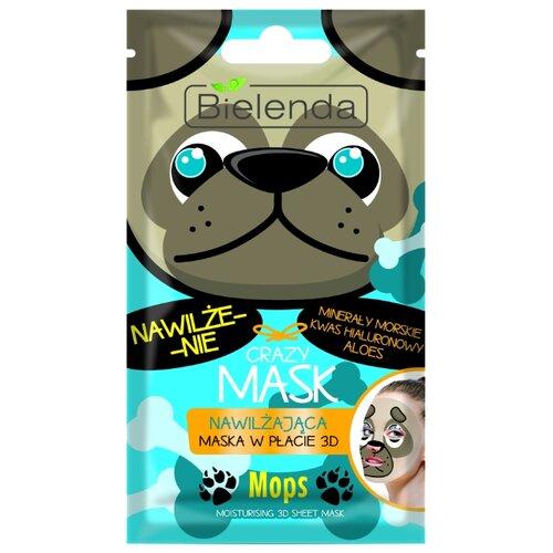 Bielenda Crazy Mask Увлажняющая тканевая маска Мопс lebelage тканевая маска для лица увлажняющая aqua natural mask 23г