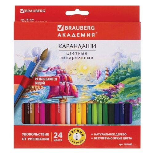 Купить BRAUBERG Карандаши цветные акварельные Академия 24 цвета (181400), Цветные карандаши