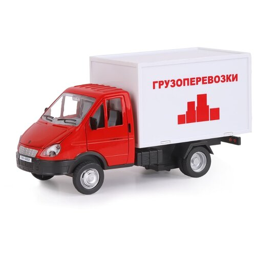 Купить Фургон Автопанорама Газель бизнес Грузоперевозки (JB1200217) 1:28 19.2 см красный/белый, Машинки и техника