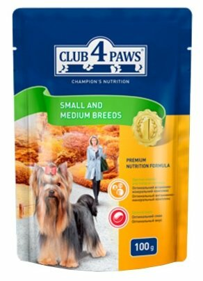 Корм для собак Клуб 4 Лапы Для собак малых и средних пород - влажный (0.1 кг) 1 шт.