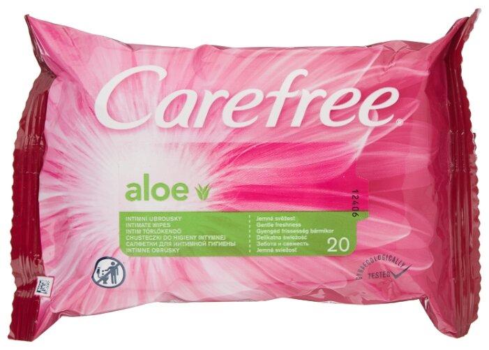 Carefree Влажные салфетки Алоэ для интимной гигиены, 20 шт