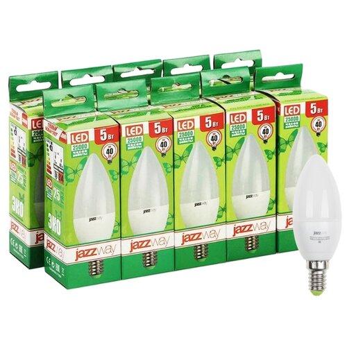 Упаковка светодиодных ламп 10 шт jazzway PLED-ECO 3000K, E14, C37, 5Вт комплект из 3 ламп светодиодных диммируемых с пультом ду p45 rgbw e14 45вт 3000k 10683