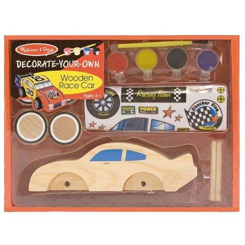 Сборная модель Melissa & Doug Decorate-your-own Wooden race car 2370 конструкторы wooden toys сборная модель ангельская рыбка