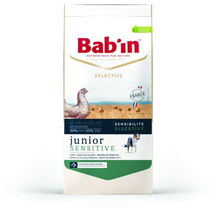 Корм для собак Bab'in Selective Junior Sensitive Poulet