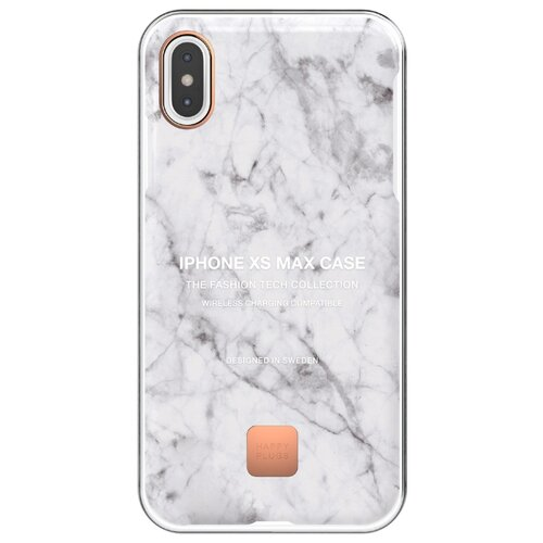 Чехол-накладка Happy Plugs 9326 для Apple iPhone Xs Max white marble