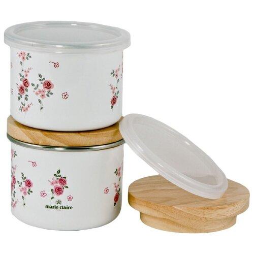 Fuji Horo Набор банок для сыпучих продуктов Мари Клер белый/розовыйСолонки, перечницы и емкости для специй<br>