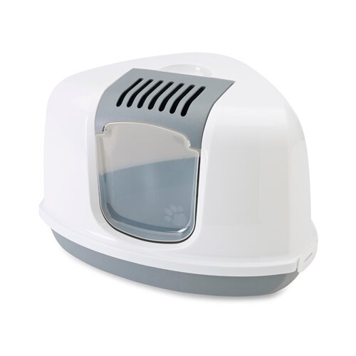 Туалет-домик для кошек SAVIC Nestor Corner 58.5х45.5х40 см серый/белый
