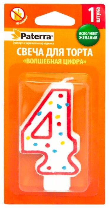 Paterra Свеча для торта Волшебная цифра 4 белый/красный