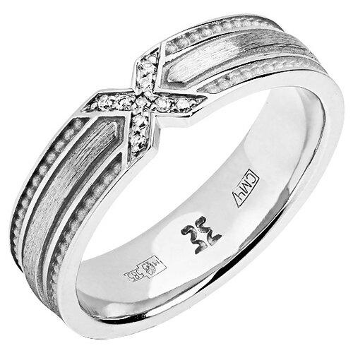 Эстет Кольцо с 9 бриллиантами из белого золота 01О620328, размер 17.5