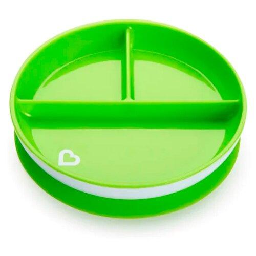 Тарелка Munchkin Stay Put Suction Plate (11213) зеленый, Посуда  - купить со скидкой