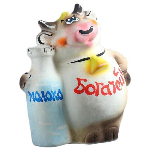 Копилка Хорошие сувениры Символ года: Бык с молоком, керамика, 15 х 21 х 25 см (1304020) разноцветный