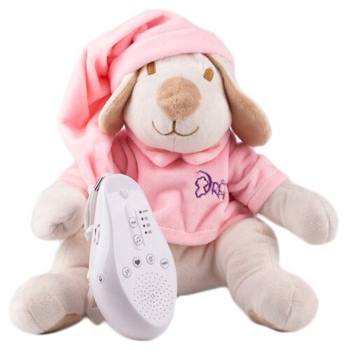 Фото - Интерактивная развивающая игрушка Drёma BabyDou Собачка с белым и розовым шумом, бежевый/розовый комфортеры drema babydou медведь с белым и розовым шумом 20 см