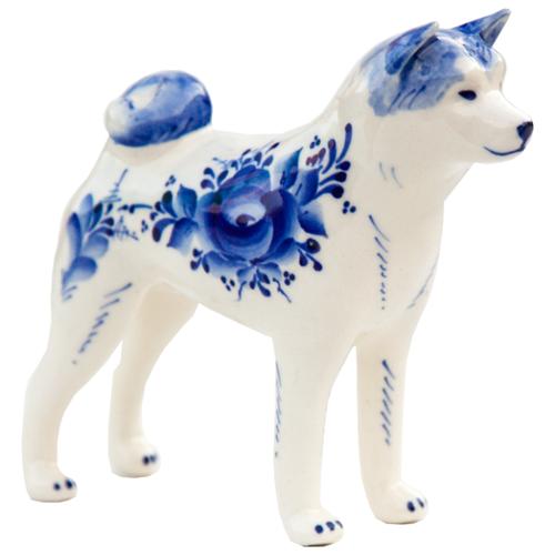 Статуэтка собака Акита Породистая Гжель Собака