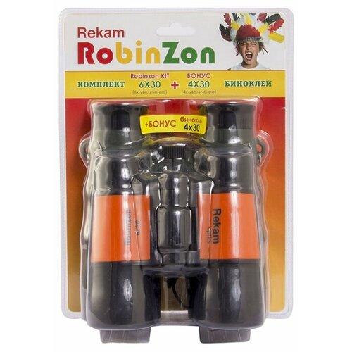 Бинокль Rekam Robinzon Kit 6x30 4x30 черный