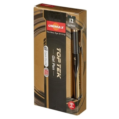 Купить UNI-MAX Набор гелевых ручек Top Tek Gel Stick Gold 0.5 мм, черный цвет чернил, Ручки