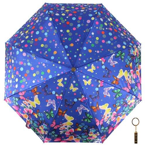 Зонт автомат FLIORAJ Premium Золотой брелок Бабочки и конфетти синий зонт автомат flioraj premium золотой брелок кошки черный