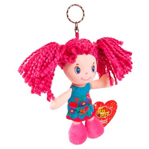 Игрушка-брелок ABtoys Кукла с розовыми волосами в голубом платье 15 см