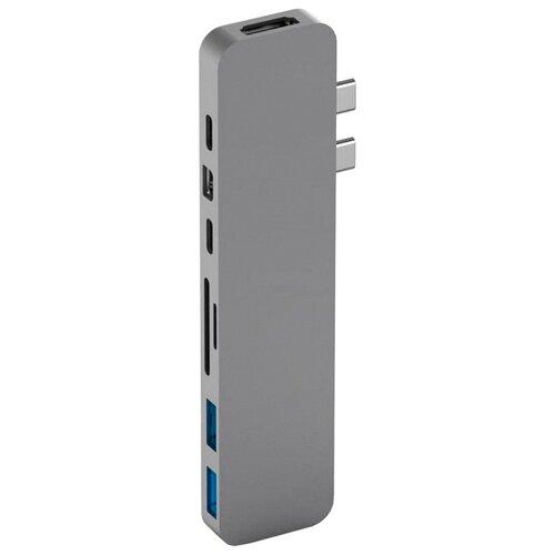 USB-концентратор HyperDrive Pro 8-in-2 (GN28D), разъемов: 4, серый
