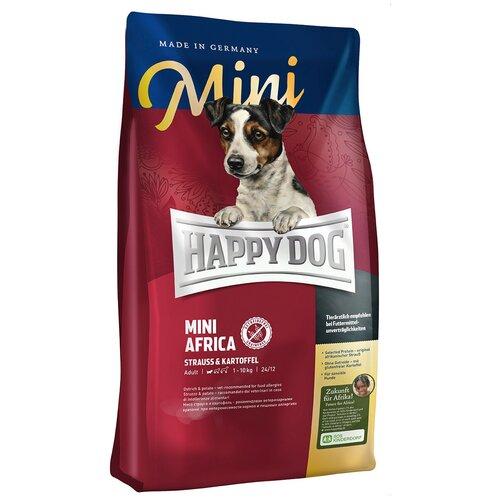 Сухой корм для собак Happy Dog Mini Africa, для здоровья кожи и шерсти, при чувствительном пищеварении, страус, с картофелем 4 кг (для мелких пород)