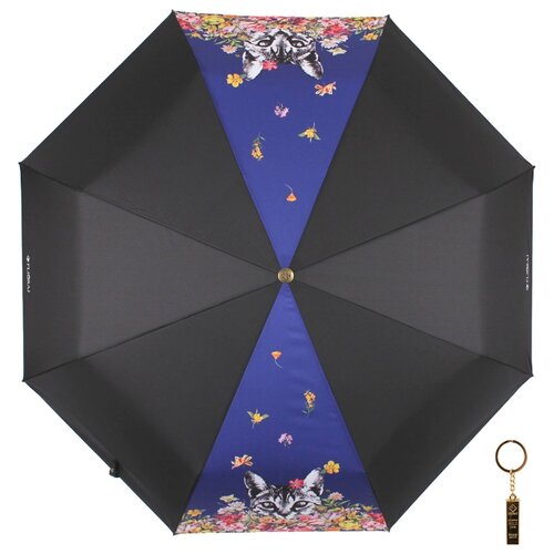 Зонт автомат FLIORAJ Premium Золотой брелок Кот и цветы черный/синий