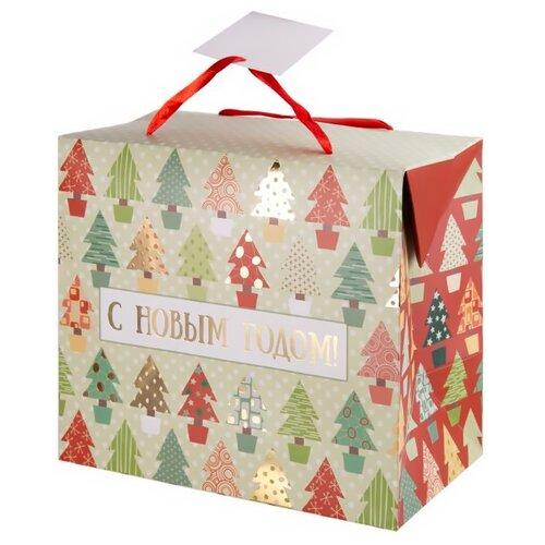 Пакет подарочный Феникс Present Разноцветные ёлочки 20 х 22.5 х 13.5 см белый/красный пакет подарочный феникс презент дед мороз в санях 17 8 х 22 9 х 9 8 см
