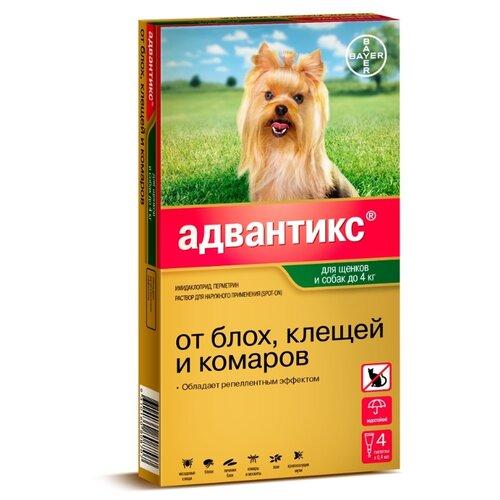 Адвантикс (Bayer) капли от блох и клещей инсектоакарицидные (4 пипетки) для собак и щенков менее 4 кг relaxivet relaxivet капли spot on успокоительные для кошек и собак 4 пипетки по 0 5 мл