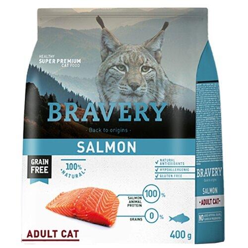 Корм для кошек Bravery беззерновой, с лососем 400 г