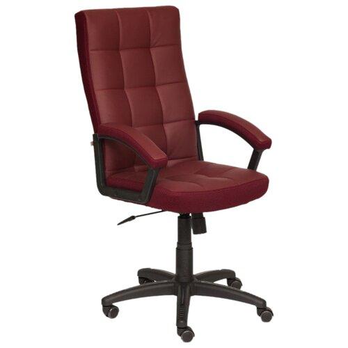 Компьютерное кресло TetChair Тренди для руководителя, обивка: текстиль/искусственная кожа, цвет: бордо/бордо кресло компьютерное tetchair оксфорд oxford доступные цвета обивки искусств корич кожа искусств корич перфор кожа