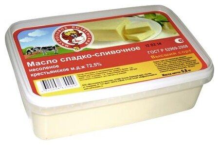 Маслозавод Нытвенский Масло сливочное крестьянское 72.5% несоленое 72.5%, 800 г