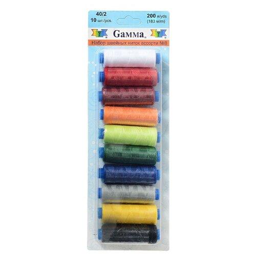 Gamma Набор швейных нитей №08 40/2 200 ярдов 183 м х 10 шт.