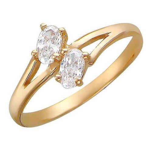 Эстет Кольцо с 2 фианитами из красного золота 01К110633, размер 18.5