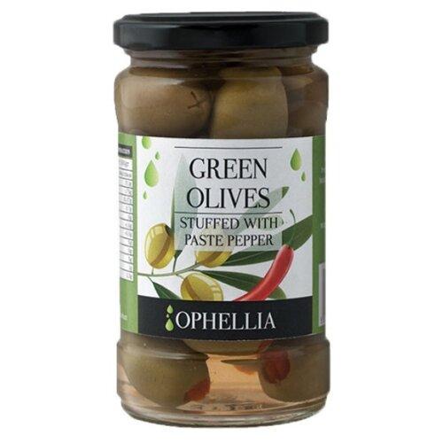 Ophellia Зеленые оливки фаршированные перцем, стеклянная банка 315 мл