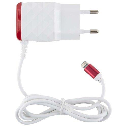 Сетевая зарядка Red Line NC-2.1AC + Lightning красный сетевая зарядка red line nt 2a белый