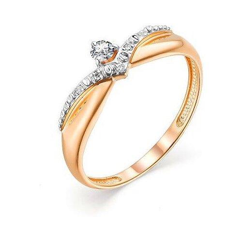АЛЬКОР Кольцо с 6 бриллиантами из красного золота 13556-100, размер 18 алькор кольцо с 6 бриллиантами из красного золота 13428 113 размер 15 5