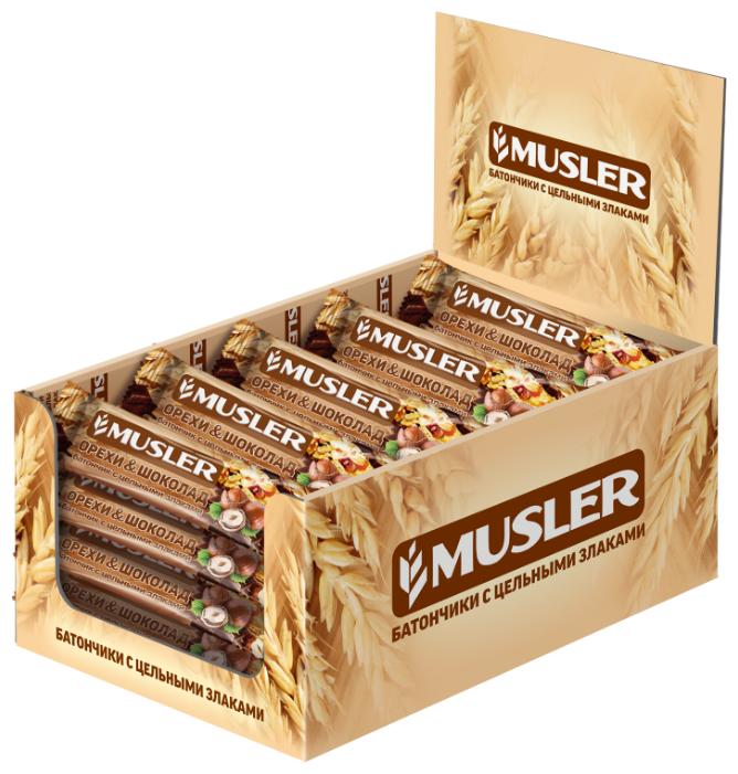 Злаковый батончик Musler в шоколадной глазури Орехи и шоколад, 25 шт
