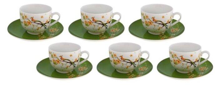 Чайный сервиз Domenik Paradise Bird 250 мл белый/зеленый