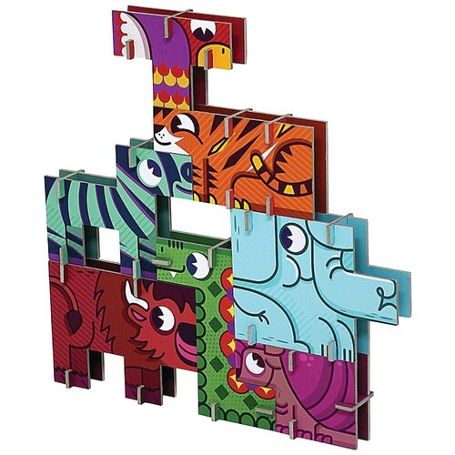 3D-пазл Krooom 3D Сафари (k-800), 7 дет. krooom игрушки из картона 3d пазл монстры k 701