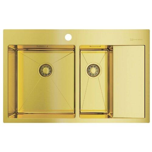 Врезная кухонная мойка 78 см OMOIKIRI Akisame 78-2-LG-L светлое золото врезная кухонная мойка 65 см omoikiri akisame 65 lg r светлое золото