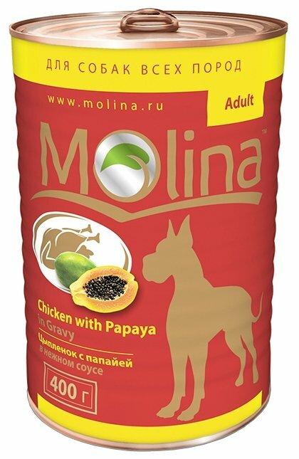 Корм для собак Molina Консервы для собак Цыпленок с папайей в нежном соусе
