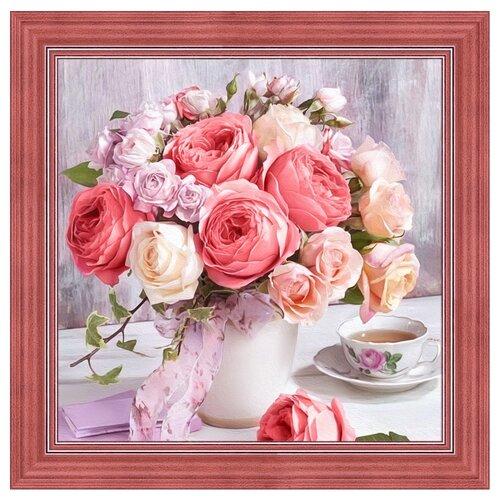 Купить Алмазная живопись Набор алмазной вышивки Пионы и розы (АЖ-1696) 40х40 см, Алмазная вышивка