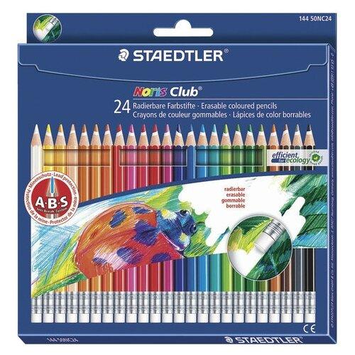 Купить Staedtler Карандаши цветные с резинкой Noris club 24 цвета (144 50NC2412), Цветные карандаши
