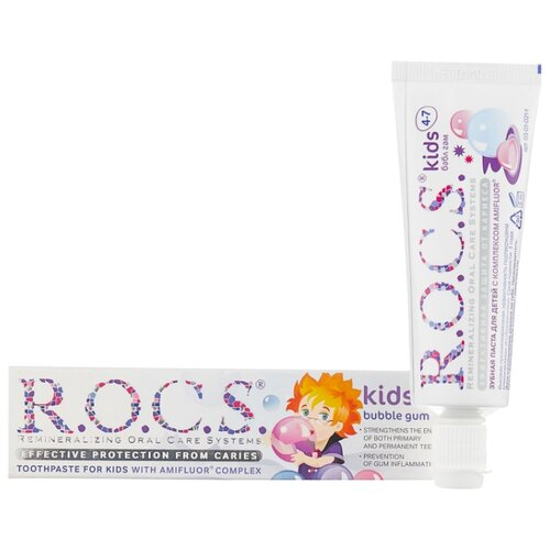 Купить Зубная паста R.O.C.S. Kids Бабл гам 4-7 лет, 35 мл, Гигиена полости рта