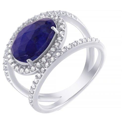 ELEMENT47 Широкое ювелирное кольцо из серебра 925 пробы с кианитами облагороженными и кубическим цирконием ER-51299_KO_001_WG, размер 19