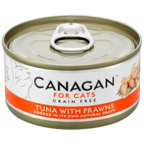 Влажный корм для кошек Canagan беззерновой, с тунцом, с креветками 75 г (кусочки в соусе)