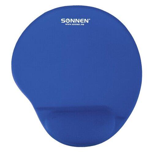 Коврик для мыши с подушкой под запястье SONNEN полиуретан + лайкра 250х220х20 мм синий 513300