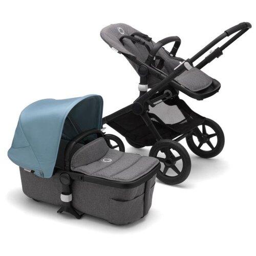 Купить Универсальная коляска Bugaboo Fox 2 complete (2 в 1) black/grey melange/vapor blue, цвет шасси: черный, Коляски