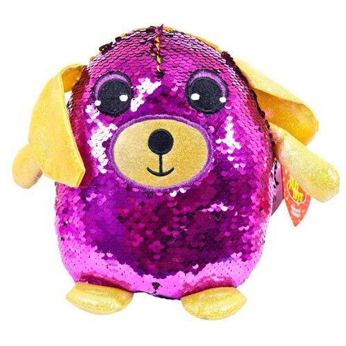 Купить Мягкая игрушка ABtoys Собака с пайетками фиолетовая 20 см, Мягкие игрушки