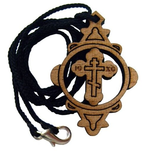 СИМВОЛИК Крест нательный деревянный на гайтане (шнурке)
