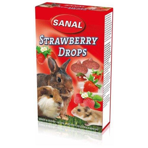 Лакомство для кроликов, грызунов SANAL Strawberry Drops с клубникой 45 г
