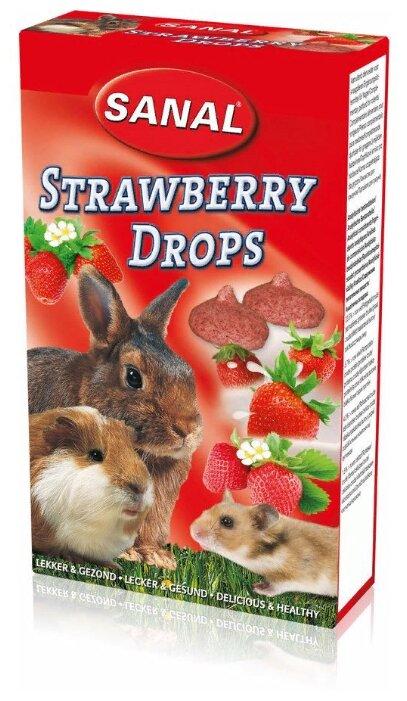 Лакомство для кроликов, грызунов SANAL Strawberry Drops с клубникой